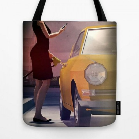 93b4e4a2d75f Buy Tote Bag - Car And Girl Art Print - Multicolor at Online ...