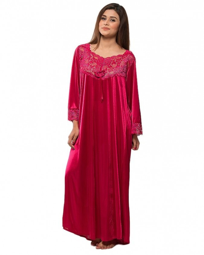 Buy Jersey Night Suit with Lace Work at Top for Women - Maroon at Online  Shopping Store  4101cdf7f
