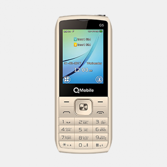 QMobile Feature Phone G5 – 2.4 Display 3000 mAH Battery – Gold